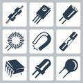 Vector Electronic Components Icons Set Stock Image - 35997701