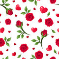 Seamless Pattern With Red Roses And Hearts On Whit Stock Photo - 36009080