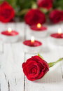 Red Roses And Candles Royalty Free Stock Photography - 36016317