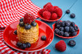 Fresh Raspberries And Blueberries On The Cookies Stock Image - 36022661