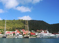 Gustavia Harbor With Mega Yachts At St Barts, French West Indies Royalty Free Stock Images - 36030929