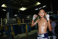 Thai Young Boxer Stand In Front Of Boxing Ring Stock Photo - 36033920