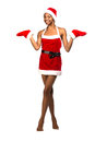 Christmas Afro American Woman Wearing A Santa Hat Smiling Royalty Free Stock Photography - 36035147