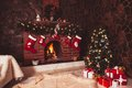 Christmas Fireplace In The Room Stock Photography - 36035402