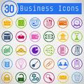 Set Of Simple Round Business Icons Stock Photo - 36041060