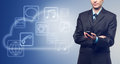 Businessman With Touch Screen Phone And The Cloud With Applicati Royalty Free Stock Photo - 36041585