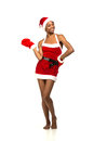 Christmas Afro American Woman Wearing A Santa Hat Smiling Royalty Free Stock Photography - 36041917