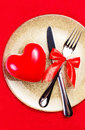 Valentines Day Background With Hearts On A Golden Plate Over Red Royalty Free Stock Image - 36042656