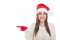 Happy Santa Girl Pointing Left Royalty Free Stock Images - 36046829