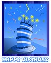 Happy Birthday Greeting Card In Blue Stock Images - 36050714