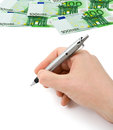 Hand With Pen And Money Royalty Free Stock Image - 36055076