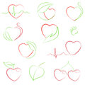 Health And Eco Hearts Icons Royalty Free Stock Image - 36056756
