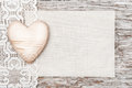 Wooden Heart, Lacy Cloth And Canvas On Old Wood Royalty Free Stock Image - 36096426