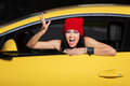 Angry Young Fashion Woman Shouting In Car Royalty Free Stock Image - 36098886