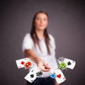 Young Woman Playing With Poker Cards And Chips Royalty Free Stock Photo - 36106935