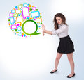 Young Business Woman Presenting Colourful Speach Bubble Stock Photo - 36107060