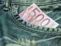 500 Euro  In The Pocket Of Jeans... Stock Photo - 36109140