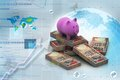 Piggy Bank And Currency Royalty Free Stock Photography - 36110557