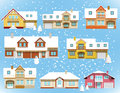 Snow Covered City Houses (Christmas) Royalty Free Stock Photography - 36113707