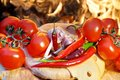 Composition With Bread, Tomatoes, Hot Chili Pepper And Garlic Stock Photo - 36119370