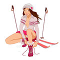 Beautiful Pin-up Girl With Skis Royalty Free Stock Photography - 36121467