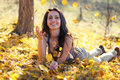 Young Woman Playing With Leafs Royalty Free Stock Photos - 36137708