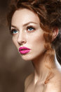Beauty Fashion Model Girl With Curly Red Hair, Long Eyelashes. Royalty Free Stock Photos - 36151168
