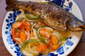Trouts Baked On Vegetables Royalty Free Stock Images - 36155759