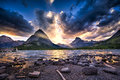 Swiftcurrent Lake At Sunset Royalty Free Stock Photography - 36161147