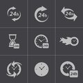 Vector Black Clock Icons Set Stock Images - 36163204
