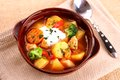 Vegetable Stew With Chicken, Potato And Sour Cream Royalty Free Stock Image - 36163346