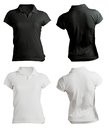 Women S Blank Black And White Polo Shirt Template Royalty Free Stock Images - 36166639