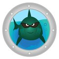 Evil Fish Looks In To Porthole Stock Image - 36184581