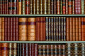 Old Library Of Vintage Hard Cover Books On Shelves Stock Photography - 36198392