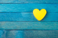 Decorative Yellow Heart On Blue Background Royalty Free Stock Photography - 36200147