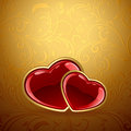 Red Hearts On Golden Background Stock Photography - 36203162