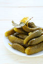 Pickled Gherkins On A Plate Stock Photos - 36235213