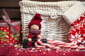Christmas Decorative Wooden Doll With Gift Box And Xmas Sock. Stock Photo - 36236910