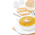 Cream Soup Of Yellow Lentils With Vegetables, Isolated Royalty Free Stock Photo - 36254715