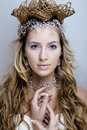 Beauty Young Snow Queen In Fairy Flashes Royalty Free Stock Image - 36262106