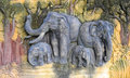 Elephant Family Carving Royalty Free Stock Photography - 36271137