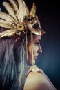 Vintage Warrior Woman With Gold Mask, Long Hair Brunette. Long H Royalty Free Stock Photos - 36294008