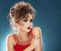 Beauty Portrait. Beautiful Girl In Red Dress Stock Images - 36334034