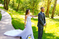 Bride And Groom First Look Moment Royalty Free Stock Photography - 36340307