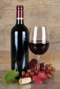 Red Wine In A Bottle And Wineglass Stock Photos - 36349393