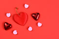 Valentines-hearts-on-red Royalty Free Stock Photo - 36353505