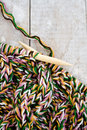Knitting Needles And Yarn On Wooden Background Stock Images - 36366524