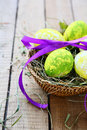 Basket With Decorated Easter Egg Royalty Free Stock Photo - 36376795