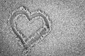 Heart Shape On Sand. Romantic, Black And White Royalty Free Stock Photos - 36385598
