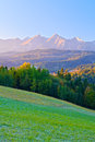 Dawn Over The High Tatra Mountains. Carpathians, Podhale, Poland Stock Images - 36386164